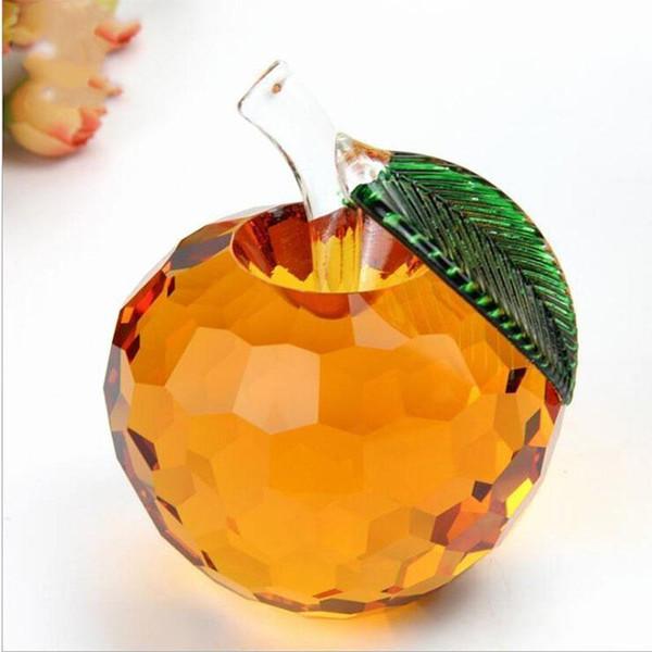 40mm Cut Crystal Apple Briefbeschwerer Glas Quarz Crafts Home Decor Fengshui Ornamente FigurMiniature Souvenir Geschenke