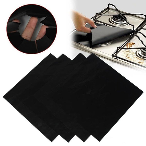 Environment Aluminum Foil Gas Stove Burner Cover Remove Surface Oil Stains Anti Sticky Clean Pad Resistant High Temperature 4 pcs