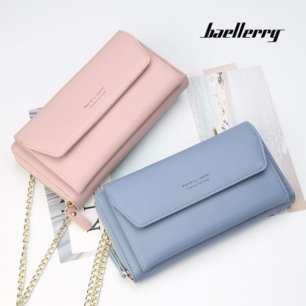 Korean Fashion Design Women Long Wallet Female Shoulder Bags High Capacity Purse Card Holder Phone Pocket Handbags With Chains