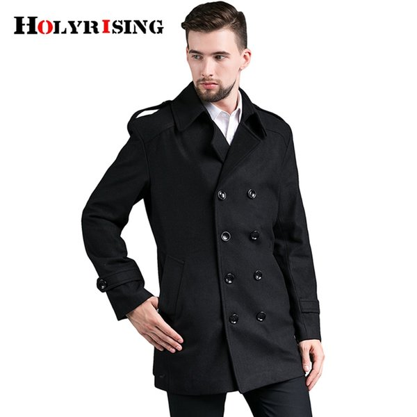 Holyrising Men Wool Coats Double Button Mens Overcoat Stylish Slim Jackets And Coats Woolen Peacoat For Male Size S-4XL 18487-5