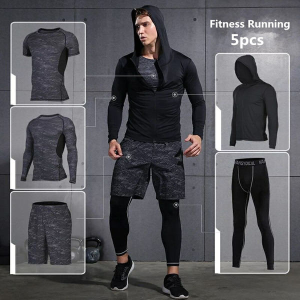 Vansydical Sports Suits Mens Gym Running Suit Fitness Tracksuit Running Sets Compression Tights Workout Sportswear Jogging Suit