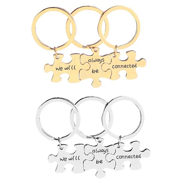 3PCS We Will Always Be Connected Keychain Set, Necklace Set, Best Friends Jewelry, Gift for Sisters
