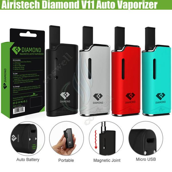 Auténtico Airis Diamond V11 Auto Vaporizador pluma Vape Kits Airistech Caja Mod 280mAh Batería CE3 Cartuchos Tanque Aceite grueso ecig Atomizadores Vapor