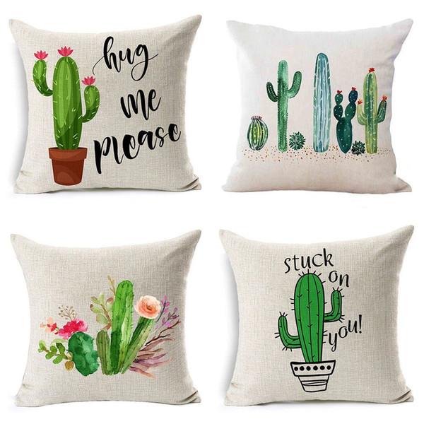 Compre Patrón De Cactus De Plantas Tropicales Lino Funda De Almohada ...