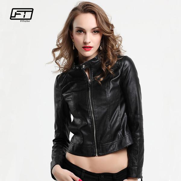 Le Meilleur Fitaylor Nouveau Noir En Cuir Veste Femmes
