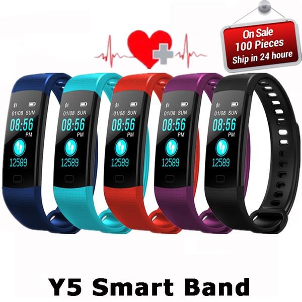 Y5 Inteligente Pulseira Eletrônica Pulseira de Cor LCD Assistir Atividade APP Rastreador de Fitness Pressão Arterial de Freqüência Cardíaca IP67 À Prova D 'Água Banda Esportiva