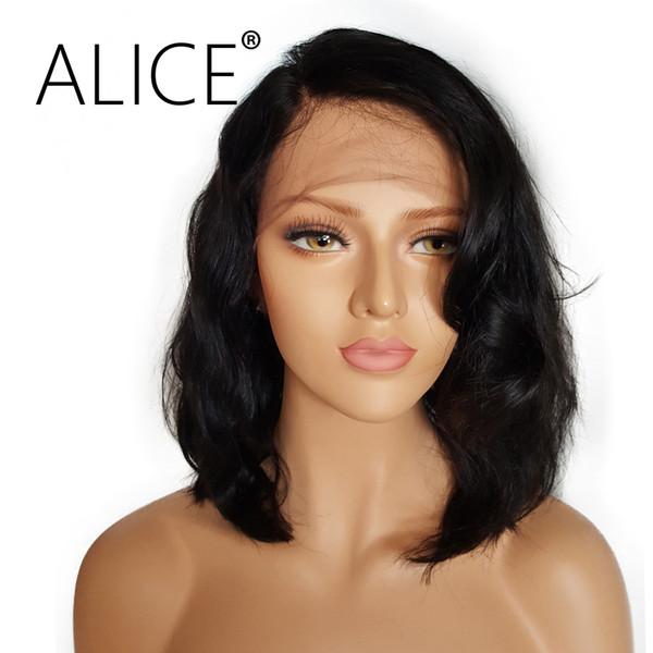 ALICE Pelucas cortas de cabello humano con frente de encaje sin cola con cabello de bebé De 8 a 16 pulgadas Pelucas brasileñas onduladas no remy Bob onduladas Nudos blanqueados