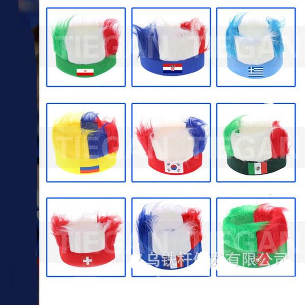 2018 Russian World Cup Parrucche Copricapo Cappello Forniture per Fan Fashion Fascia con parrucca di pelliccia Vendita calda 9 99tg Ww