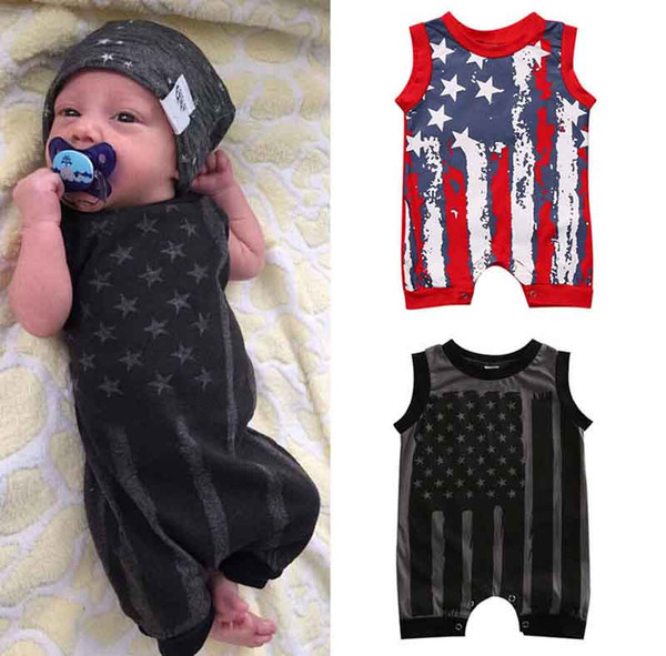 top popular Baby boys girls jumpsuit romper American flag pattern Red Gray two color unsex baby clothing summer casual holiday party parade clothes 2020