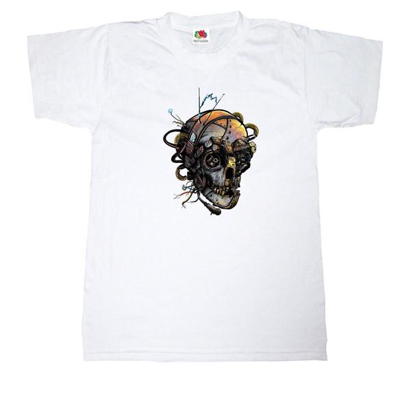 Mens-Fit RETRO STEAMPUNK METAL HUMAN SKULL SKELETON 100% Cotton White T-shirt