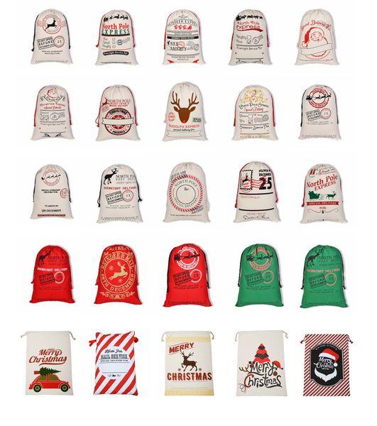 Sacs De Cadeau De Noël Grand Beige Cordon De Coton Sac 50 * 70 cm Nouvel An Fête De Noël Santa Claus Sacs Sac Avec Des Renne Multi Styles