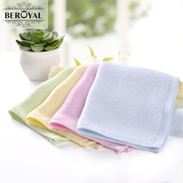 Beroyal Brand Kids Hand Towel -4PC/Lot 25*25cm Bamboo Towel Plain Dyed Face Square Soft Baby Bibs