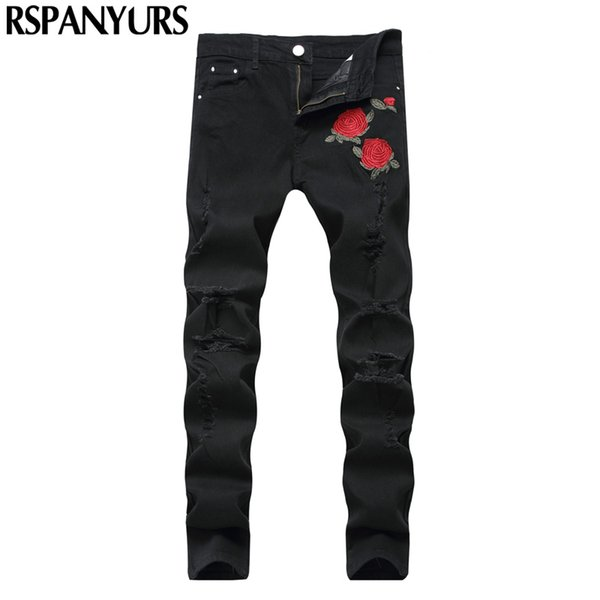 2018 new men's embroidered jeans fashion rose hole sanding black trousers slim waist straight tube feet stretch pants