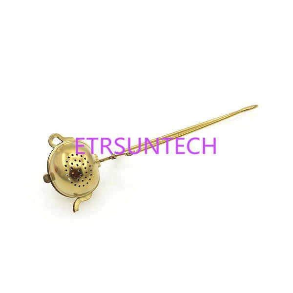 Goldene Farbe Edelstahl Tee Infuser Kreative Teekanne Form Mit Griff Tee Filterteeware Werkzeug QW7765