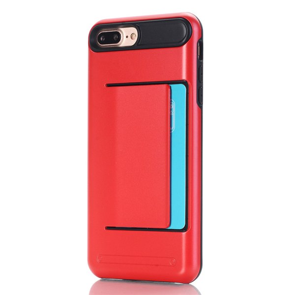 Brand New Dual Layer Slide Wallet Credit Card Slot Phone Case For Apple iPhone 8 Case Armor Shock Proof Phone Back Cover iPhone 8 Plus 5.5