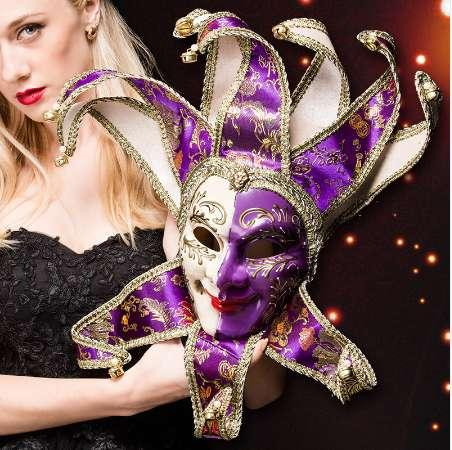 Venice Mask Jester Jolly for Costume Party Masquerade Carnival Dionysia Halloween Christmas Classic Italia Mask Full Face PVC