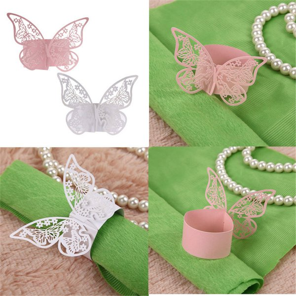 50pcs Laser Cut Butterfly Shape Napkin Rings Paper Holder for Dinners Lunch Tables Home Wedding Birthday Date Party Decorations