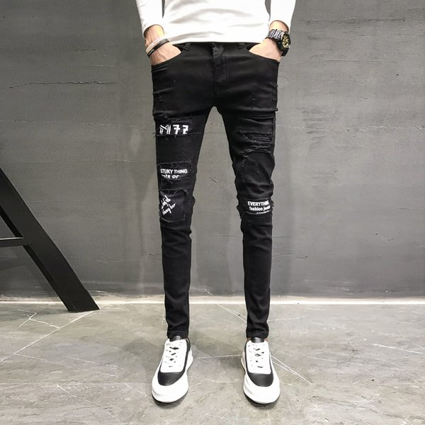 Autumn New Jeans Men Brand Black Slim Fit Casual Pants Men Personality Patch Design Denim Skinny Jeans Hip Hop Trousers