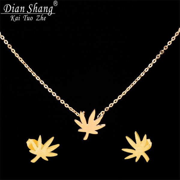 DIANSHANGKAITUOZHE 2017 Women Bijoux Silver Gold Color Stainless Steel Maple Leaf Stud Earrings Choker Necklace Jewelry Sets