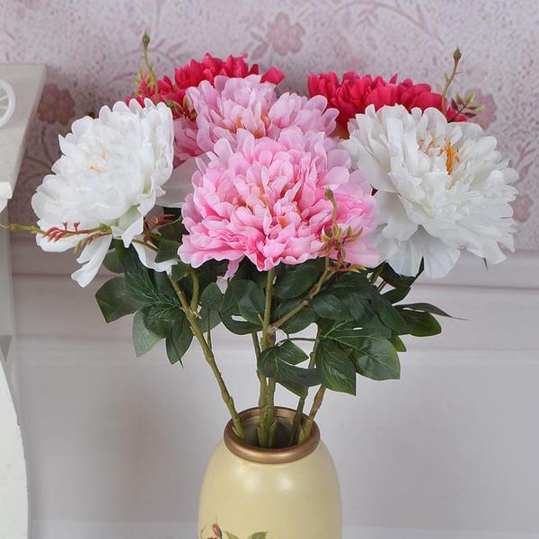 Simülasyon Tek Şube Subshrubby Şakayık Çiçek Öykünme Ipek Çiçekler Buket Yapay Gelin Gelin Buketi Düğün Küçük Mevcut 3TH ff