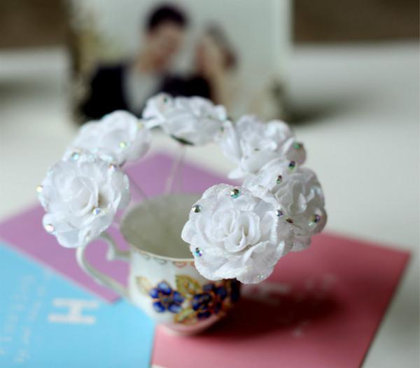 50pcs White Fabric Rose Crystal Flower Women Wedding Bridal Girls Hair Accessories Hair Pins Clips Grip Hair Jewelry