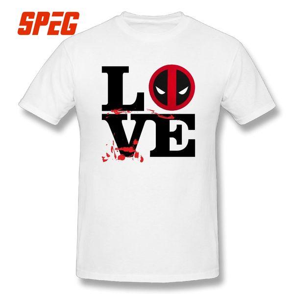 Love Deadpool T Shirt Tops Crew Neck Tees Funny Style 100% Cotton Comfortable Short Sleeves T Shirt Big Size Men
