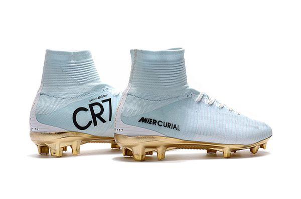 CR7 Soccer White Crampons Mercurial Superfly FG V Chaussures De Football Pour Enfants Cristiano Ronaldo