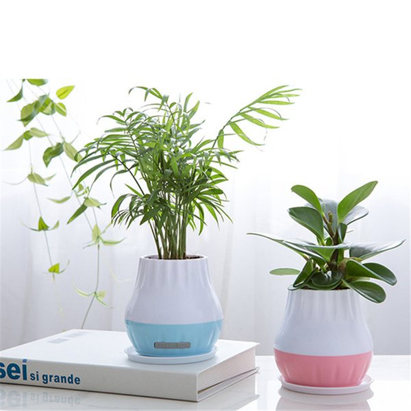 Flowerpot Night Light LED Smart Plant Pot Bluetooth Wireless Music Speaker Lamp Touch Induction Sound Gift Home Office Decor
