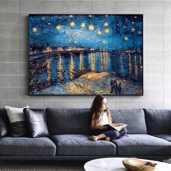 Van Gogh Notte stellata Dipinti su tela Replica sulla parete Impressionista Notte stellata Immagini su tela per soggiorno Cuadros