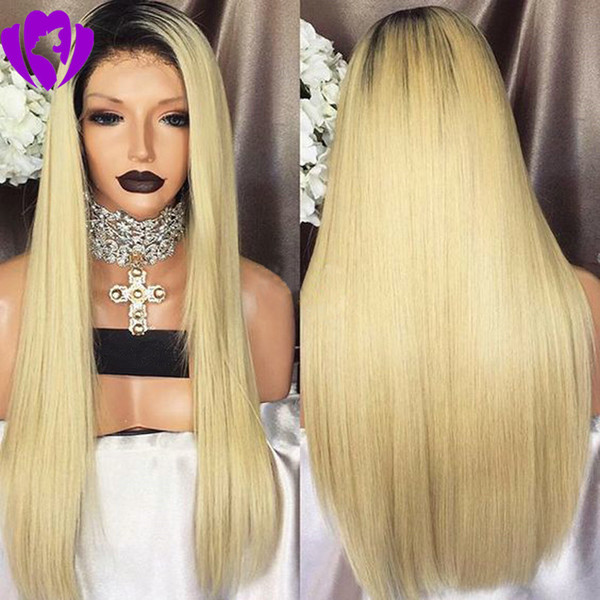 High quality silk straight blonde lace front wig Ombre Wigs Two Tone Natural Black roots synthetic lace front wig for black women