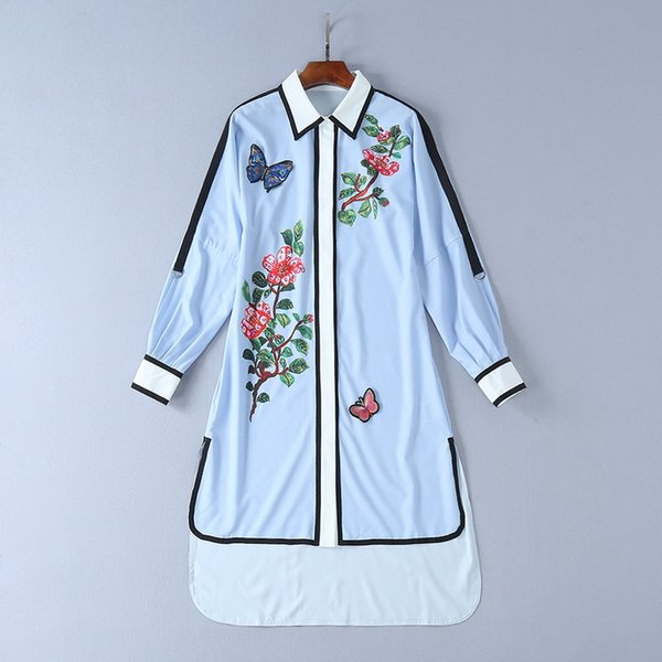 2018 Spring Summer New Patch Butterfly European Stationery Sequin Printing Short Loose Long-sleeved Dress