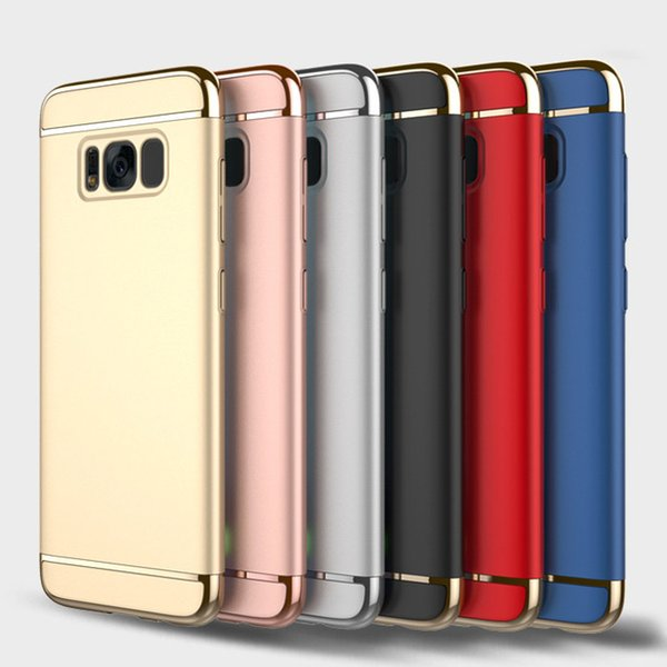3 in 1 Matte Frosted Plating Hybrid Slim Hard Armor Cover Case For iPhone XS Max XR X 8 7 6 Plus Samsung Galaxy S9 S8 S7 Note 9 A6 J2 C5 Pro
