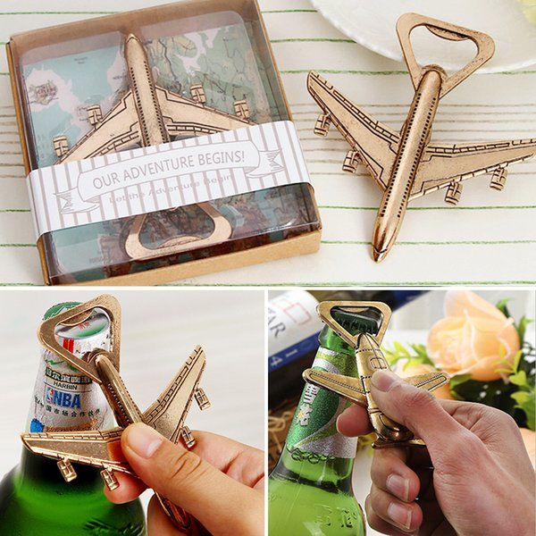 New Helicopter Airplane Bottle Opener Antique Alloy Plane Shape Beer Wine Opener Wedding Gift Party Favors Kitchen Tool Retail Pack WX9-507