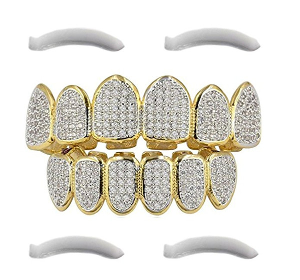 24K Gold Plated Hip Hop Grillz Top And Bottom Grills For Mouth Teeth 2 EXTRA Molding Bars Every Style
