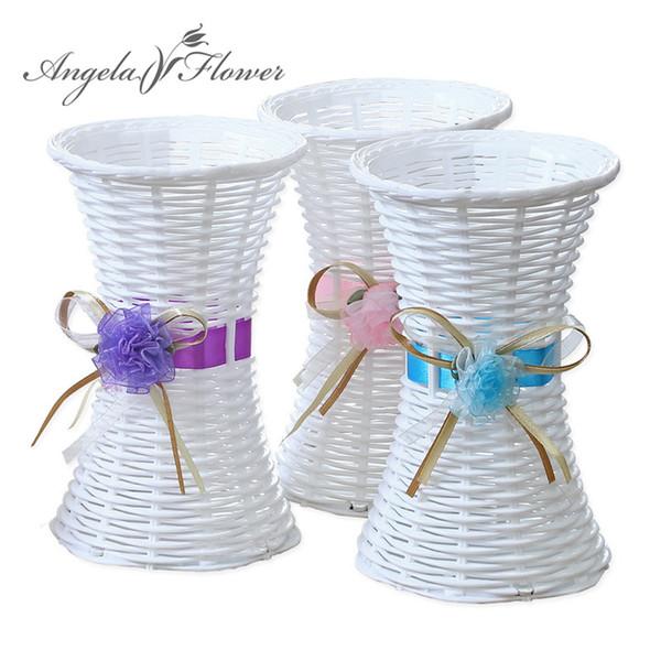 Cute Quality rattan white vase home bedroom decoration table baskets aritificial plants silk flowers basket 1pcs