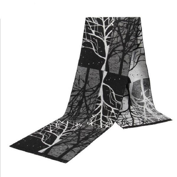 écharpe d'hiver pour hommes longues écharpes coton accessoires de sapin de Noël châle rayé mode automne automne chaud brun noir
