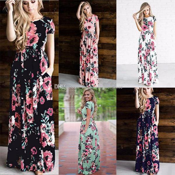 top popular Women Floral Print Short Sleeve Boho Dress Evening Gown Party Flower print Dress 2018 Summer 6 colors C3948 2019