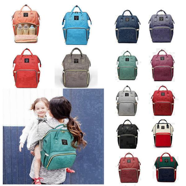 14 Colors Mummy Maternity Nappy Bag Large Capacity Baby Bag Travel Backpack Desiger Nursing Bag for Baby Care Diaper Bags 100pcs H02m
