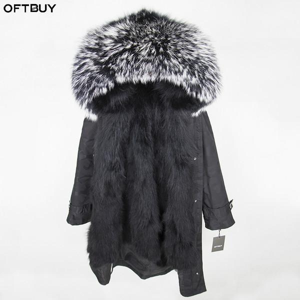 OFTBUY 2018 Winter Jacket Women Real Fur Coat X-long Parka Natural Raccoon Fur Collar Hood Real Fox Fur Inside Streetwear Brand