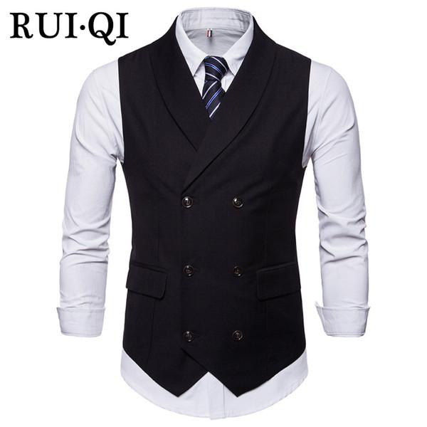 RUI QI Casual Style Uomo Gilet 2018 Slim Turn-Down Collar Cotton Gilet Abbigliamento Qualità Gilet senza maniche Maschio J17039629