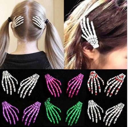 2 PCS/SET New Skull Hand Bone Hairpin Gripper Ghost Skeleton Hair Clips Hairclips Bone Claw Hair Accessories