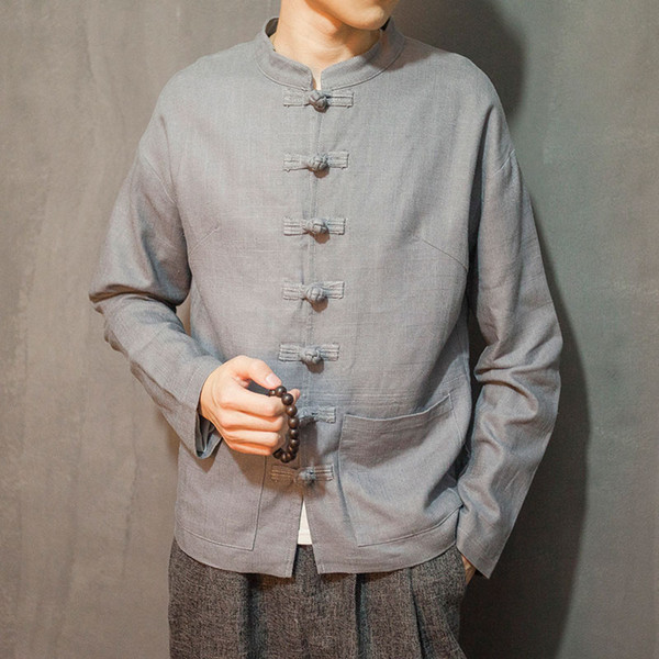 Chaqueta de lino de otoño para hombre traje chino transpirable gris azul botones rojos Tang traje estilo chino Casual cómodo exterior