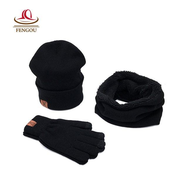 Hat And Scarf Set For Women Cotton Warm Knitted Hat Scarf Set for Male Female 3 Pieces Hats Touch Screen Gloves neck warmer