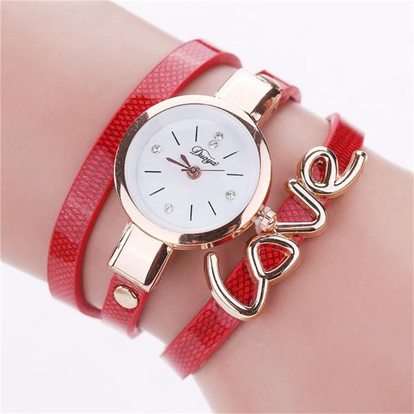 MESTILO Fashion Rhinestone Wrist Watch Bracelets For Women Charm Letter LOVE Multilayer Leather Ribbon Wrap Bracelets Bangles