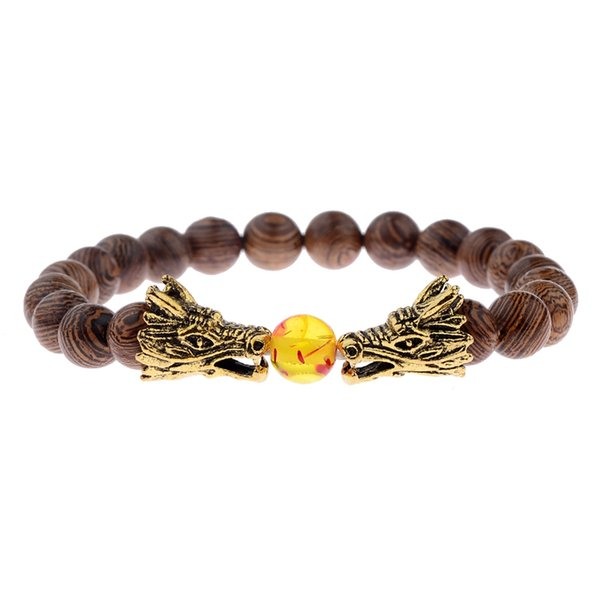 Natürliche Holz Perlen Armband Für Männer 2018 Gold Dragon Spartan Warrior Helm Armband 8mm Silber Chakra Armbänder Armreifen ABJ011