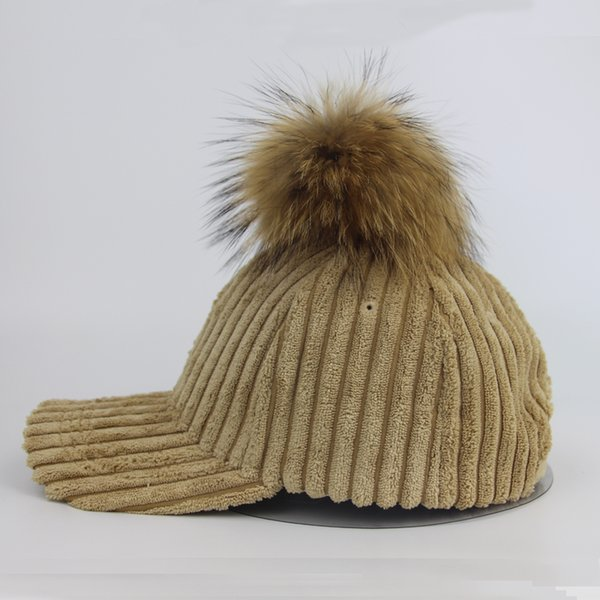 2017 New Branded Baseball Caps Snapback Dad Hat Winter Fur Pompom Hats For Women Knitted Pompon Trucker Cap Bonnet wholesale