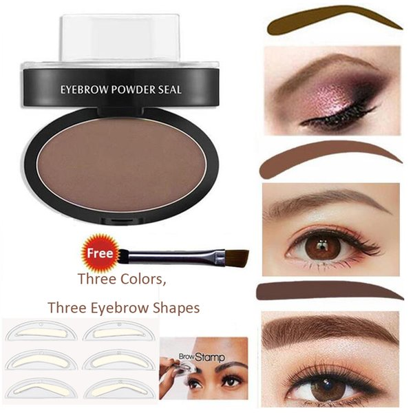 Lazy Quick Eyebrow Stamp Seal Tint Waterproof Long lasting Eyes Brow Shadows Set Eyebrows Powder Palette Three Shape Eyebrow Sets