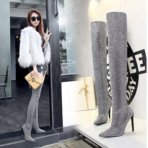 New Over The Knee Boots for Women Thigh High Boots Spring/Autumn Sequined Cloth Stretch Fabric Super High (8 Cm-up) Snow