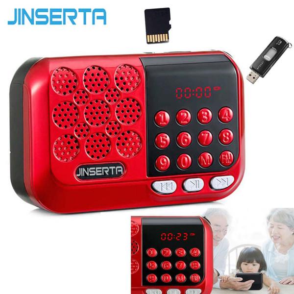 JINSERTA Portátil Mini Radio FM Altavoz Reproductor de Música Soporte TF Tarjeta U Disco Juega con Pantalla LED Auriculares Jack