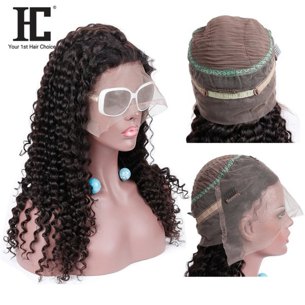 HC Hair Brazilian 360 Lace Frontal Wigs Deep Wave Remy Human Hair Wig 150 Density With Baby Hair Mwdium Brown Lace